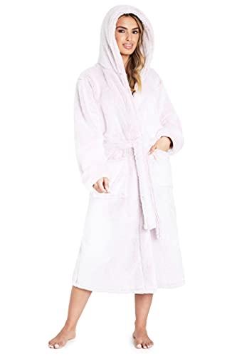 CityComfort Albornoz para mujer con capucha, lujoso y esponjoso para mujer, color gris, rosa, XL