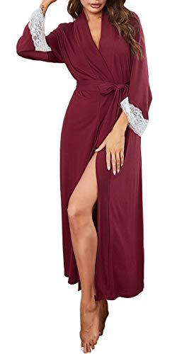 Nanxson Bata para Mujer Largo Albornoz Kimono Ropa de Dormir con Cinturón Manga Larga Albornoces S-XXL (M, Rojo oscuro)