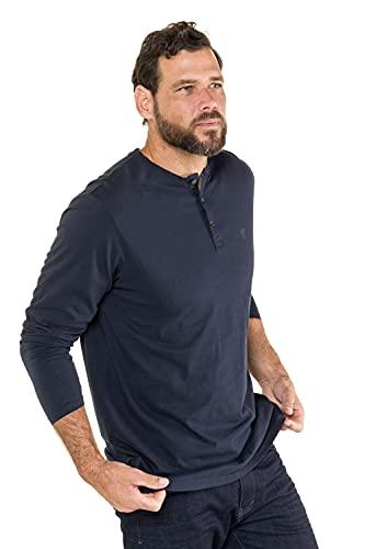 JP 1880 Camisa Henley, Azul Marino, XXXL para Hombre