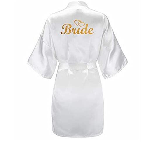 Juego de 3 Piezas de Brillo Dorado para Novia, satén, Bata de Novia Corta, Zapatillas, Faja Nupcial, Bata, Bata de Kimono para Fiesta Nupcial para Mujer-robe-6-XXXL