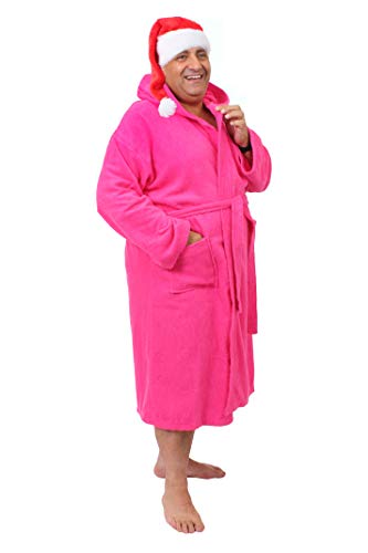 ILOVEFANCYDRESS - Albornoz con capucha y gorro de felpa para hombre grande y voluminoso, color rosa