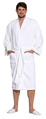 ZOLLNER Albornoz de ducha hombre y mujer, talla XL, algodón, blanco