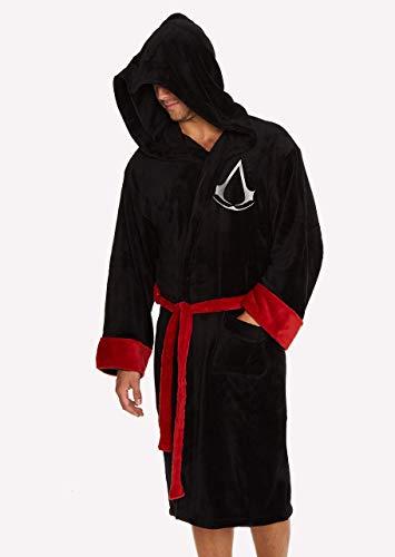 Groovy Assassin's Creed - Albornoz con capucha, poliéster, color negro, talla única