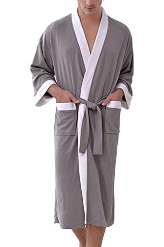 Besweeton Albornoz Ens Ducha Waffle Albornoz Kimono dormir camisón de encaje ligero Spa Hotel Living room casa Ropa para Hombre METRO Gris Blanco