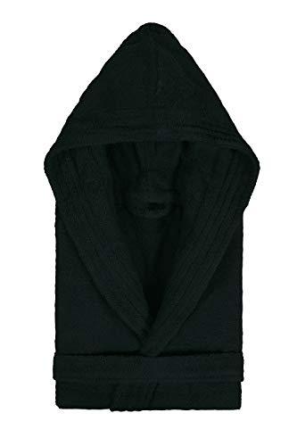 Textiles Vertrauen Pure - Albornoz con capucha para mujer, color Negro, talla Small