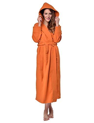 RAIKOU Albornoz de Baño para Mujer con Capucha 100% Poliéster Certificado Oeko Tex Bata Baño Mujer 2 Bolsillos Cinturón y Cierre Suave Absorbente y Cómodo (40-42,Naranja)