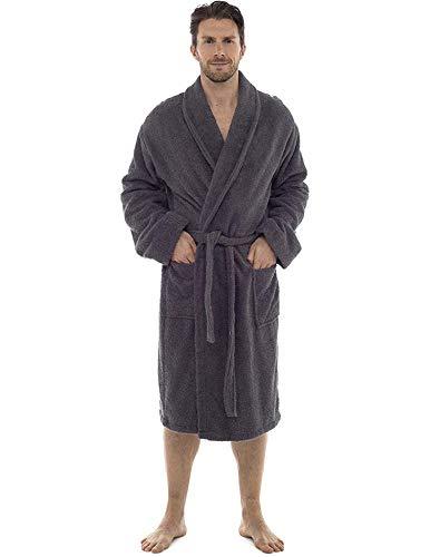 CityComfort Bata de baño para Hombres Bata de algodón 100% Terry Albornoz Albornoz Baño Ideal para Gimnasio Ducha SPA Hotel Bata Tamaño de Vacaciones M/L, L/XL, 2XL, 3XL y 4XL (3XL, Gris carbón)