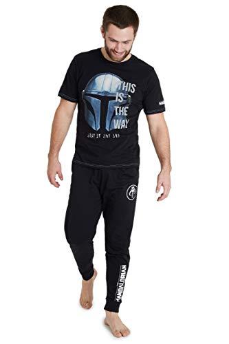 Star Wars Pijama Hombre, Pijama Hombre Invierno Camiseta Manga Corta Diseño Mandalorian y Pantalones Largos, Regalos Hombre y Adolescente Talla S - 3XL (2XL)