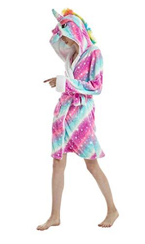 Bata Encapuchado, Unicornio Batas de Baño Onesie Adultos Pijamas de Animales Camisón de Dibujos Animados Suave Bata de Dormir Halloween Navidad (Cielo Estrellado, M)