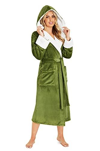 CityComfort Bata de Casa Para Mujer, Albornoz Mujer de Forro Polar, Regalos Mujer S-XL (L, Verde)