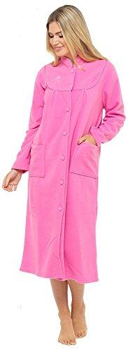 Bata de tejido polar con manga larga, botones y bolsillos en la parte delantera para mujer Rosa Rosa Oscuro 22-24