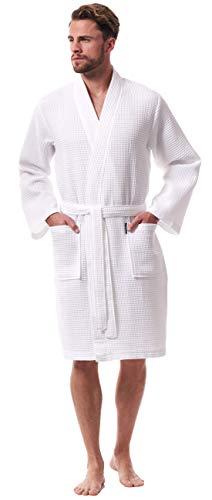 Morgenstern Albornoz Hombre Ligero Nido de Abeja Kimono Bata Baño Ligera de Piqué Algodón Organico Blanco Talla XL