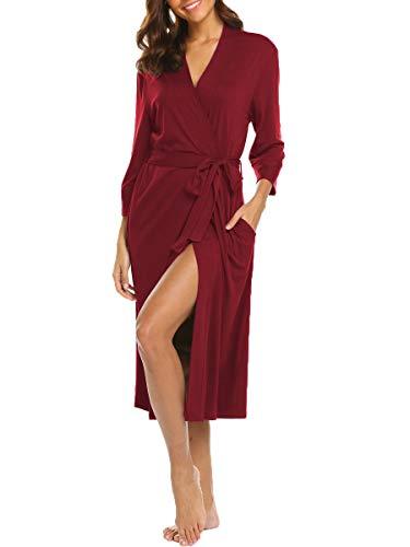 Albornoz de algodón ligero para mujer, kimono largo para mujer