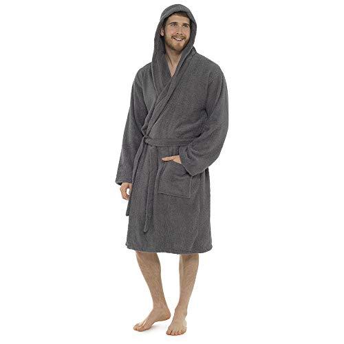 Albornoz para hombre, 100% algodón, toalla de rizo, cuello de chal, albornoz, bata de baño, perfecto para gimnasio, ducha, spa, hotel, vacaciones, gris oscuro, L/XL