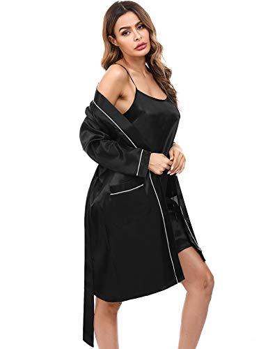 Doaraha Kimono Mujer Bata Satén Sexy Ropa de Dormir Seda Batas Novia Vestido Dama de Honor Pijama Cortos Conjunto de Lencería Albornoz Camisón Suave Sedoso (Negro, S)