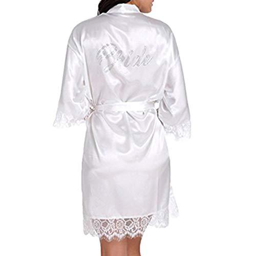 BOYANN Batas Novia Dama de Honor Corto Kimonos de Satén Encaje Cristal Ropa de Dormir Mujer