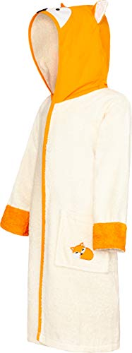 Smithy - Albornoz infantil (talla 86/92), diseño de zorro, color beige