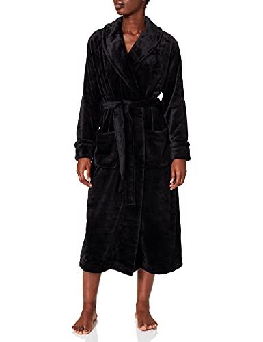 Marca Amazon - IRIS & LILLY Long Plush Dressing Gown Mujer, Negro (Black), M, Label: M