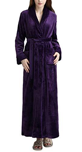 Pronghorn Vestido de Franela de Invierno para Mujer Bata de Lana Albornoz, Toda la Longitud Loungewear, púrpura