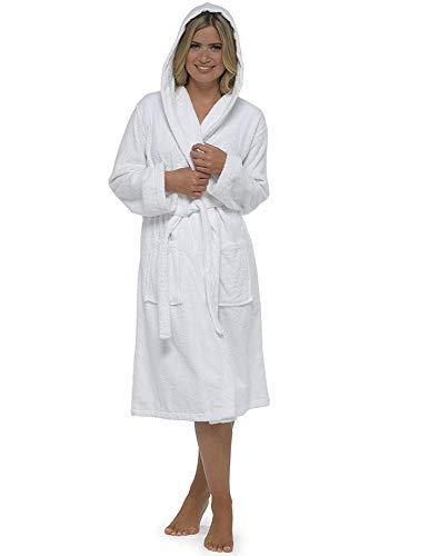 CityComfort Señoras Robe Luxury Terry Toweling algodón bata albornoz Mujeres altamente absorbente mujeres con capucha y Shawl Towel baño abrigo (XL, blanco)