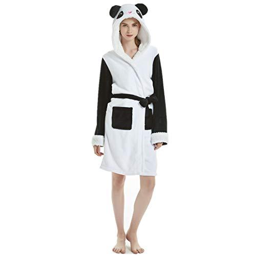 JMAHM Albornoz Bata Mujer Pijamas Toalla Bata Algodón Ligero Abrigo Suave Ropa de Dormir con Capucha (M, Color - Panda)