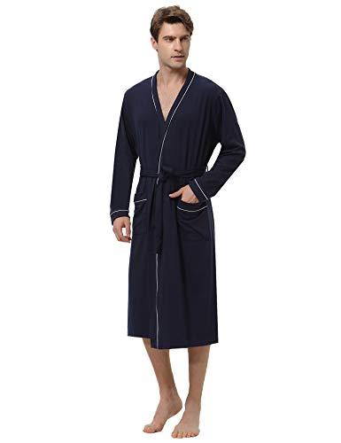 Aibrou Bata y Albornoz Hombre Largo con Cinturón,Bata de Baño Algodon Ropa de Dormir Casual Kimono para Piscina Sauna SPA Hotel Party S-XXL