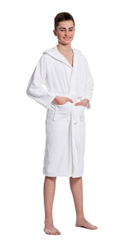 ZOLLNER Albornoz blanco con capucha para niños y niñas, algodón, talla 152/158