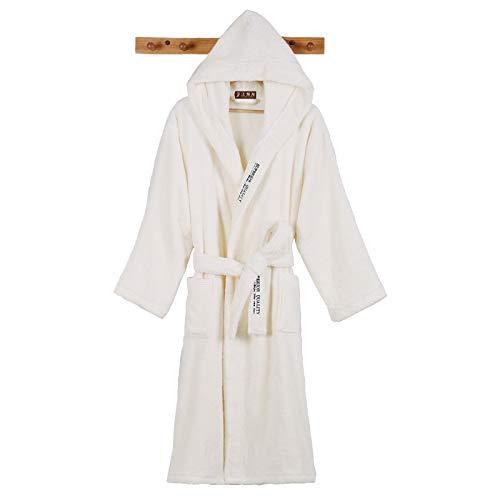 Hombres Albornoz Lujo Largo Invierno Robe Túnica Cálida Albornoz Plus Tamaño Bata Robe Toalla Soft Towel Fleece Vestido Termal Vestido (Color : White, Size : M(155 165cm))