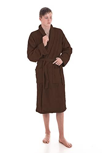 LEBENGOOD Albornoz Unisex para Mujer y Hombre 100% Algodón Rizo Americano 400 gr con Cinturón, Bolsillos, Ducha, Bata Suave, Toalla (XL, Chocolate)