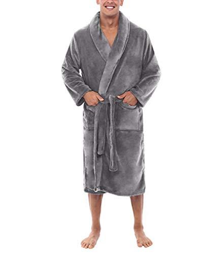 Hddwzh Albornoz Suave,Hombre Gris Robe Cinturón De Invierno Largo Albornoz Masculino Excelente Fibra De Poliéster Pijama Noche Vestido De Felpa Sleepwear Hombres Soft Robe, M