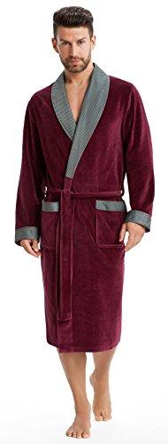 Albornoz Leverie, elegante y suave, para la sauna, con solapa de cuello y cinturón, para hombre Bordeaux mit Streifen XXXL