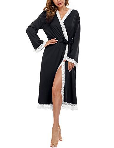 Doaraha Albornoces de Encaje para Mujer Cárdigan Batas de Encaje Bata de Kimono con Cuello en V Bolsillo Ropa de Dormir Suave (Negro, M)