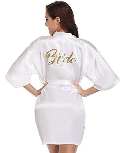 Vlazom Kimono Mujer Bata para Satén Mujer, Albornoces para Mujer de Batas Novia Boda de Pijamas para Kimono Dama de Honor Suave y Sexy S-XXL,M,Blanco - novia