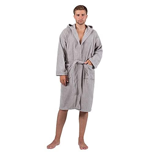 Komfortec albornoz hombre con capucha | Albornoz 100% algodón suave - albornoz | Abrigo de sauna largo y ligero de felpa | Fluffy | Acogedor | Secado rápido | Gris plateado | Talla L