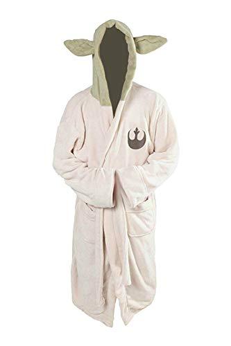 Jedi Ears - Albornoz de forro polar con capucha para cosplay (talla adulta), blanco leche, talla única