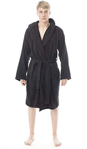 Albornoz para hombre, 100% puro algodón egipcio, súper suave, acogedor, 650 g/m², con capucha, estilo albornoz y ropa de noche LW