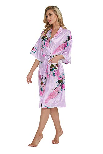 Westkun Kimono Japones Mujer Albornoz Vestido de Satén Pavo Real Novia Pijamas Largo Sexy y Elegante de Seda Bata Camisón Robe Lencería Cardigan(Luz Púrpura,S)