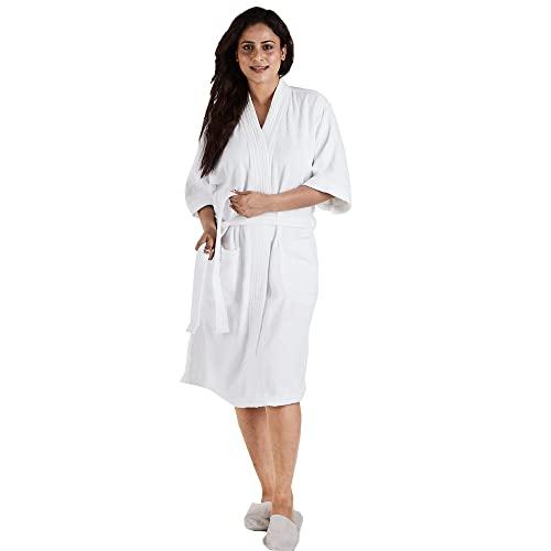 TRIDENT Albornoz Kimono largo 100% algodón Simply Fresh, bata, perfecto para gimnasio, ducha, spa, bata de hotel, vacaciones (Blanca, S/M)