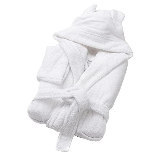 SOHYGGE - Albornoz infantil de 450 gr/m2, para niño y niña, 100% algodón esponja, ecológico OEKO-TEX – Albornoz infantil con capucha – salida de baño infantil, blanco, 3-4 Años