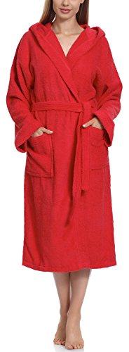 Ladeheid Albornoz de Baño 100% Algodón Ropa de Casa Mujer LA40-102 (Rojo (D10) (Densidad de 450), S)