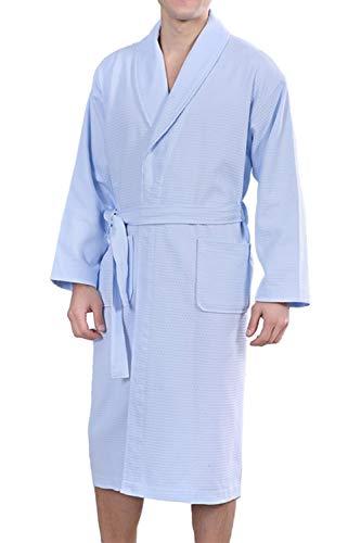 Besweeton Albornoz Hombre Mujer Ducha Waffle Bata de Baño Kimono Ropa De Dormir Camisón Ligero De Encaje SPA Hotel Azul XL