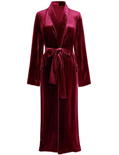 PRODESIGN Albornoz de terciopelo para mujer con cinturón, tallas S-XL, ropa de dormir para mujer borgoña XL
