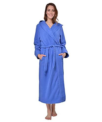 RAIKOU Albornoz de Baño para Mujer con Capucha 100% Poliéster Certificado Oeko Tex Bata Baño Mujer 2 Bolsillos Cinturón y Cierre Suave Absorbente y Cómodo (40-42,Azul Real)