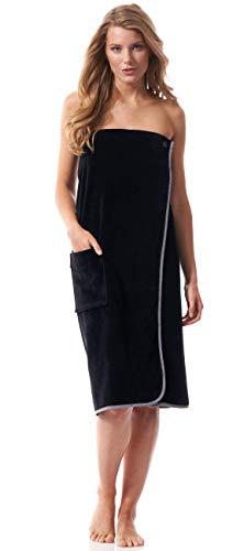 Morgenstern Toalla Sauna Mujer con Botón y Banda Elástica Toalla de Pie Playa Pareo Algodón 90x150 cm Negro