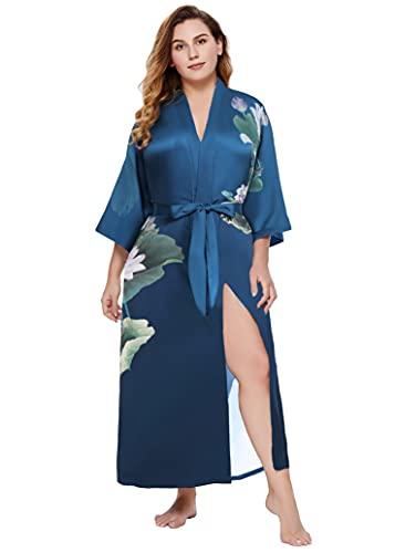 PRODESIGN Bata de mujer con kimono, tallas grandes, albornoz largo, de verano, con estampado de flores, vestido de playa, elegante, de satén verde oscuro talla única grande