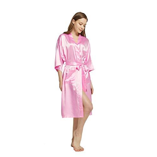 Westkun Kimono Japones Mujer Albornoz Vestido de Satén Novia Suave Cómodo Sedoso y Agradable Pijamas Largo Sexy Elegante de Seda Bata Camisón Robe Lencería Cardigan(Rosa,XL)