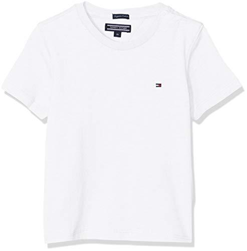 Tommy Hilfiger T Camiseta Básica de Manga Corta, Blanco (Bright White), 176 (Talla del Fabricante: 16) para Niños