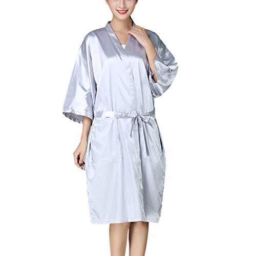 Minkissy SPA - Albornoz para mujer y hombre, kimono, albornoz para cortar el pelo, delantal para teñir el pelo, ropa, peluquería, spa, salón de belleza, salón de belleza en casa (gris plateado)