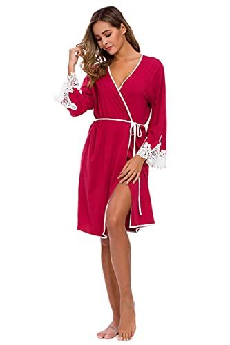 Albornoz de algodón suave ligero para mujer, de punto corto, para dormir, para mujer Rojo granate XL