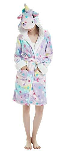 FunnyCos Albornoz para mujer con capucha y diseño de unicornio, star, M